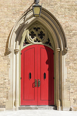 Photograph - The Red Church Door. by Ty Agha