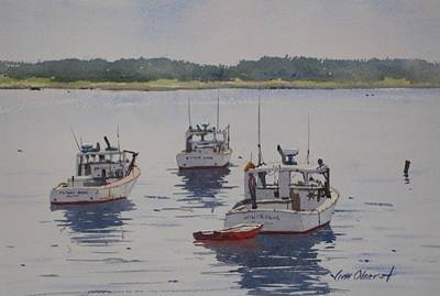Oberst Painting - The Red Dinghy by Jim Oberst
