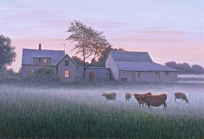 Maine Barns Painting - The Red Door At Dawn by Paul Breeden