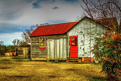 Photograph - The Red Door - Farm Landscape by Barry Jones