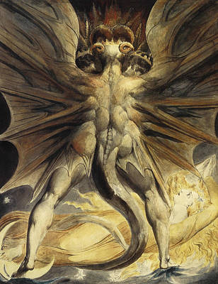 William Blake Painting - The Red Dragon And The Woman Clothed In Sun by William Blake