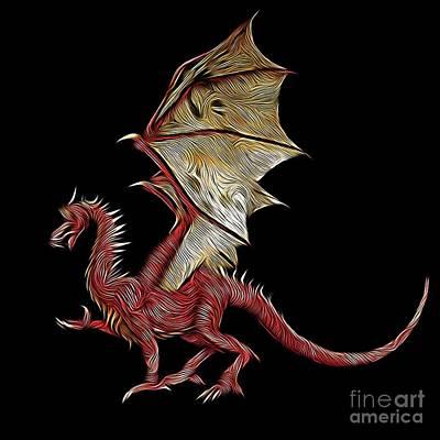 Fantasy Digital Art Royalty Free Images - The Red Dragon, Digital Art by MB Royalty-Free Image by Mary Bassett