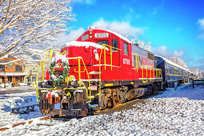 Photograph - The Red Engine At Christmastime by Debra and Dave Vanderlaan