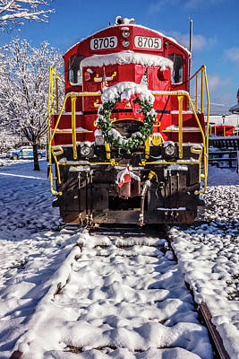 Photograph - The Red Engine On The Christmas Train II by Debra and Dave Vanderlaan