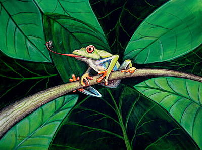 Frog Painting - The Red Eyed Tree Frog by Elizabeth Robinette Tyndall