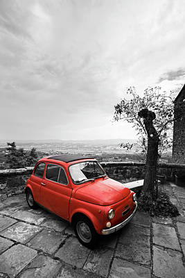 Photograph - The Red Fiat by Mircea Costina Photography