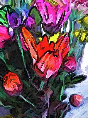 Digital Art - The Red Flower And The Rainbow Flowers by Jackie VanO