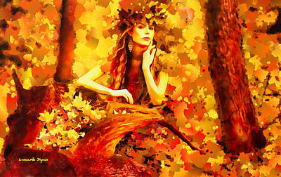 Trunk Digital Art - The Red Forest Lady - Da by Leonardo Digenio