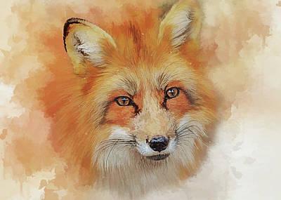 Sly Digital Art - The Red Fox by Brian Tarr
