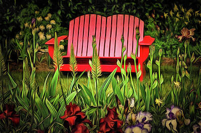 Photograph - The Red Garden Bench by Thom Zehrfeld