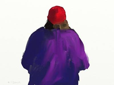 Digital Art - The Red Hat by Bill Tomsa