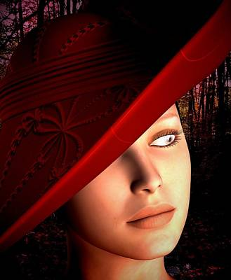 Digital Art - The Red Hat by Nancy Pauling