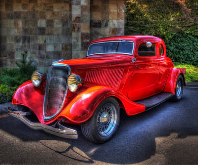Photograph - 1934 Red Ford Coupe by Thom Zehrfeld
