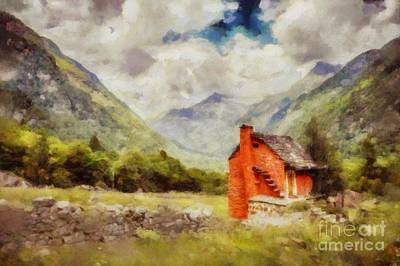 Painted Landscape Painting - The Red House By Sarah Kirk by Sarah Kirk