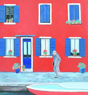 Italy Architecture Painting - The Red House On The Island Of Burano by Jan Matson