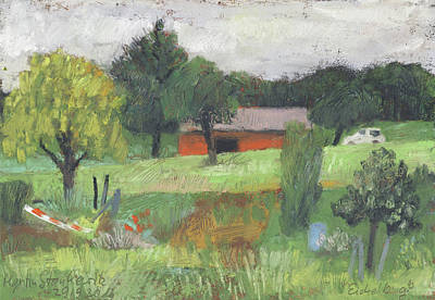 Painting - The Red Hut - Rote Huette by Martin Stankewitz