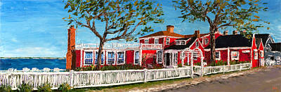 Cape Cod Painting - The Red Inn Street View by Ann Gorbett