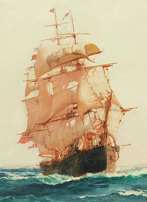 Calming The Storm Painting - The Red Jacket - Detail by Montague Dawson