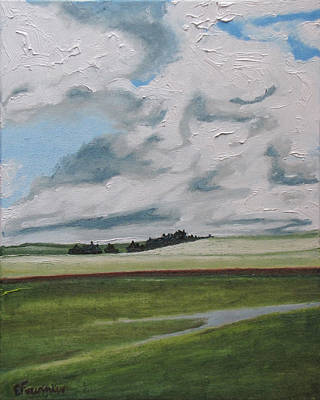 Eastern Townships Painting - The Red Line by Francois Fournier