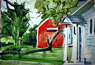 Painting - The Red Oxide Barn Matted by Charlie Spear