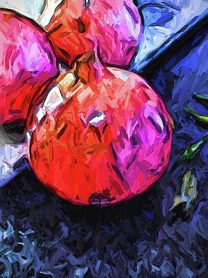 Digital Art - The Red Pomegranate Beside The Marble Board by Jackie VanO