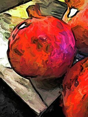 The Red Pomegranates On The Marble Chopping Board Art Print