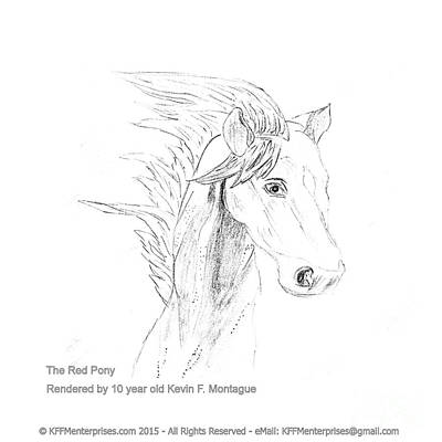 Clydesdale Drawing - The Red Pony by Kevin Montague