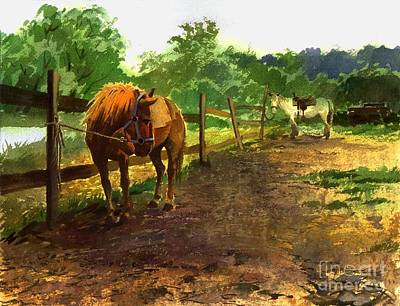 Art Print featuring the painting The Red Pony by Sergey Zhiboedov