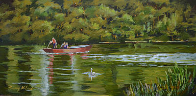 Print featuring the painting The Red Punt by Murray McLeod