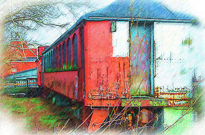Digital Art - The Red Railroad Car Car by Kirt Tisdale