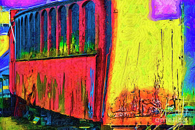 Digital Art - The Red Railroad Car In Fauvism by Kirt Tisdale