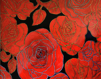 Painting - The Red Red Roses by Nareeta Martin