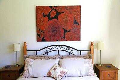 Painting - The Red Red Roses Resized by Nareeta Martin