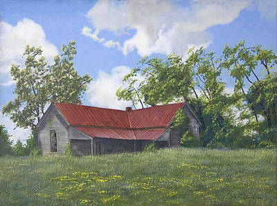 Peter Muzyka Wall Art - Painting - The Red Roof by Peter Muzyka