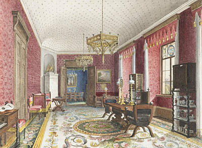 Drawing - The Red Room, Schloss Fischbach by Friedrich Wilhelm Klose