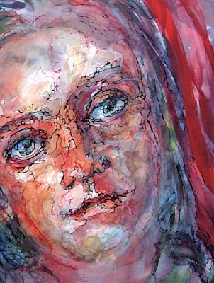 Shirley Digital Art - The Red Scarf by Shirley Sykes Bracken