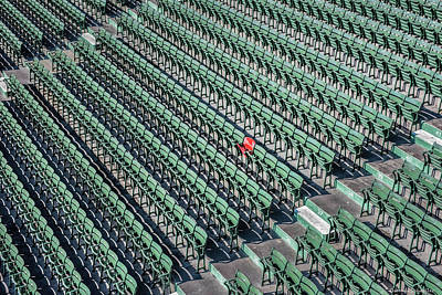 Photograph - The Red Seat Of Fenway by Expressive Landscapes Fine Art Photography by Thom