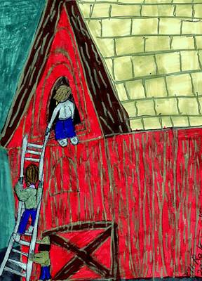 Shed Mixed Media - The Red Shed Club House That Dad Built by Elinor Helen Rakowski