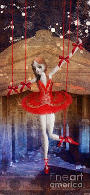 Ballet Dancers Mixed Media - The Red Shoes by Mo T