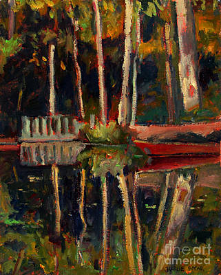 Plain Air Painting - The Red Skiff On Buff's Pond  Plein Air by Charlie Spear