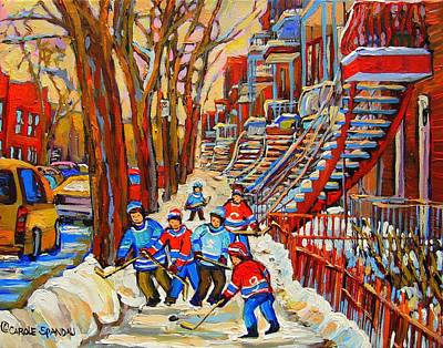 Kids Playing Hockey Painting - The Red Staircase Painting By Montreal Streetscene Artist Carole Spandau by Carole Spandau