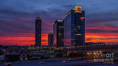 Photograph - The Red Sunset 2 Midtown Atlanta Cityscape Art by Reid Callaway