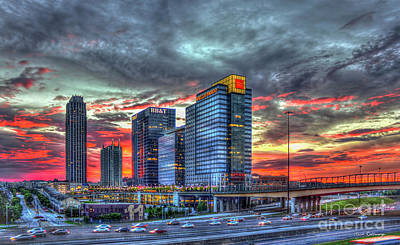 High School Of Art And Design Photograph - The Red Sunset Midtown Atlanta Cityscape Art by Reid Callaway
