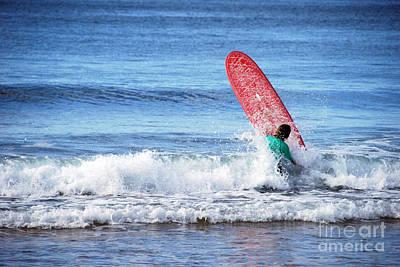 The Red Surfboard Art Print by Joe Scoppa