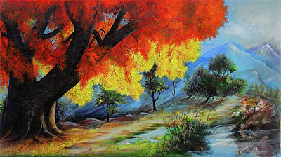 The Red Tree And The Lake  Art Print by Arun Sivaprasad