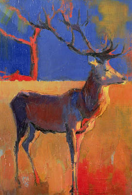 Stag Painting - The Red Tree by Mark Adlington