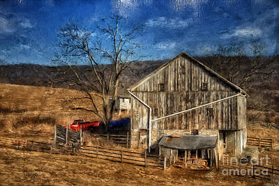 Bare Trees Digital Art - The Red Truck By The Barn by Lois Bryan