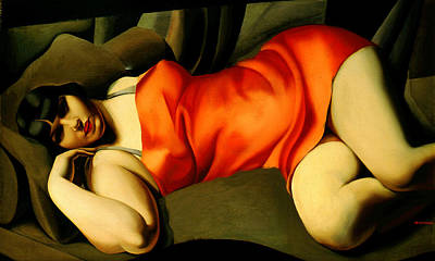 Lesbianism Painting - The Red Tunic by Tamara de Lempicka