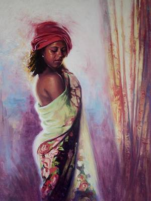 Indian Contemporary Artist Painting - The Red Turban by Colin Bootman