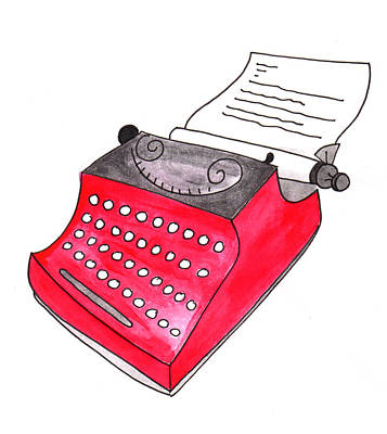 Painting - The Red Typewriter by Anna Elkins